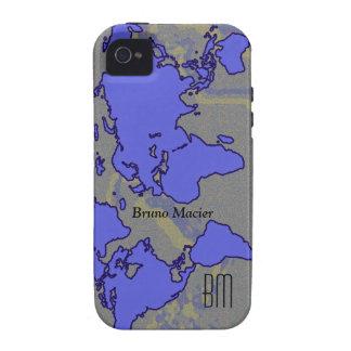 worldmap azul personalizado vibe iPhone 4 carcasa
