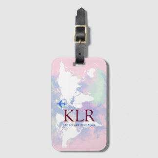 Worldmap with personalized initials bag tag