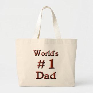 World's #1 Dad Large Tote Bag