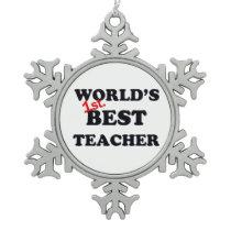 World's 1st. Best Teacher Snowflake Pewter Christmas Ornament