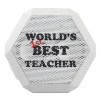 World's 1st. Best Teacher White Bluetooth Speaker