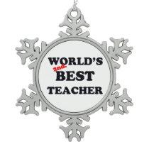 World's 2nd. Best Teacher Snowflake Pewter Christmas Ornament