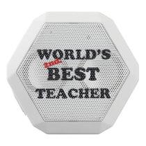 World's 2nd. Best Teacher White Bluetooth Speaker