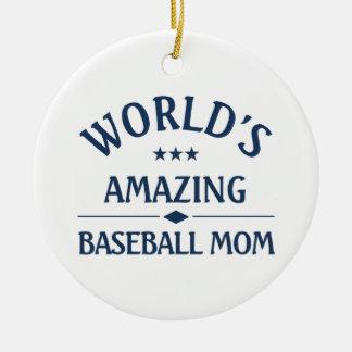 World's amazing Baseball Mom Double-Sided Ceramic Round Christmas Ornament