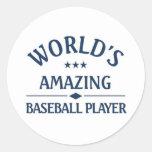 World's amazing Baseball Player Round Sticker