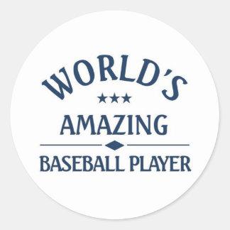 World's amazing Baseball Player Classic Round Sticker