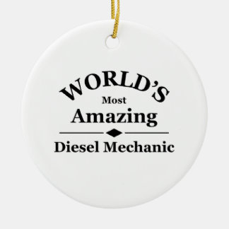World's amazing Diesel Mechanic Double-Sided Ceramic Round Christmas Ornament