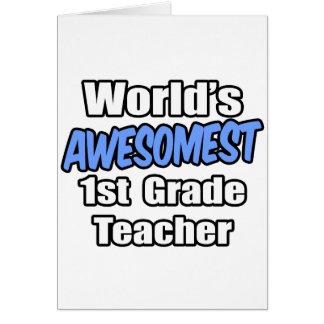 World's Awesomest 1st Grade Teacher Cards