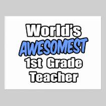 World's Awesomest 1st Grade Teacher Postcard