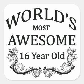 World's Best 16 Year Old Square Sticker