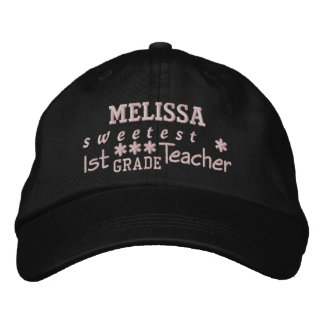 World's Best 1st GRADE TEACHER Custom Name BLACK 1 Embroidered Baseball Hat