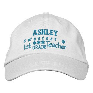World's Best 1st GRADE TEACHER Custom Name BLUE 04 Embroidered Baseball Hat