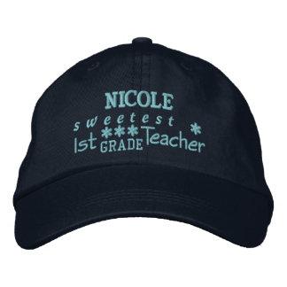 World's Best 1st GRADE TEACHER Custom Name NAVY 2 Embroidered Baseball Hat