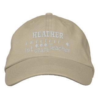 World's Best 1st GRADE TEACHER Custom Name OLIVE 5 Embroidered Baseball Hat