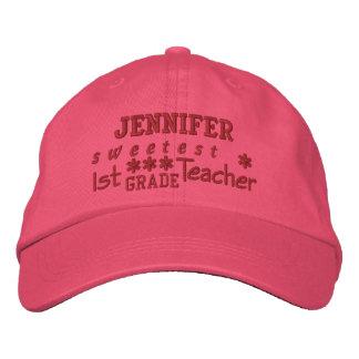 World's Best 1st GRADE TEACHER Custom Name PINK 02 Embroidered Baseball Hat