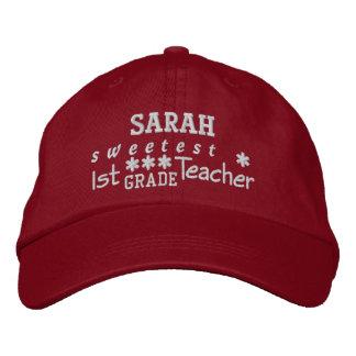World's Best 1st GRADE TEACHER Custom Name RED 05 Embroidered Baseball Cap