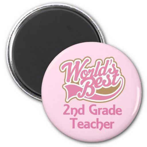 Worlds Best 2nd Grade Teacher 2 Inch Round Magnet