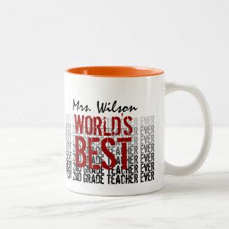 World's Best 2nd Grade Teacher Custom Name W1319 Two-Tone Coffee Mug