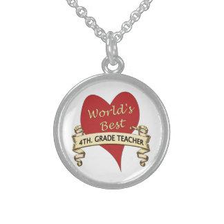 World's Best 4th. Grade Teacher Sterling Silver Necklace