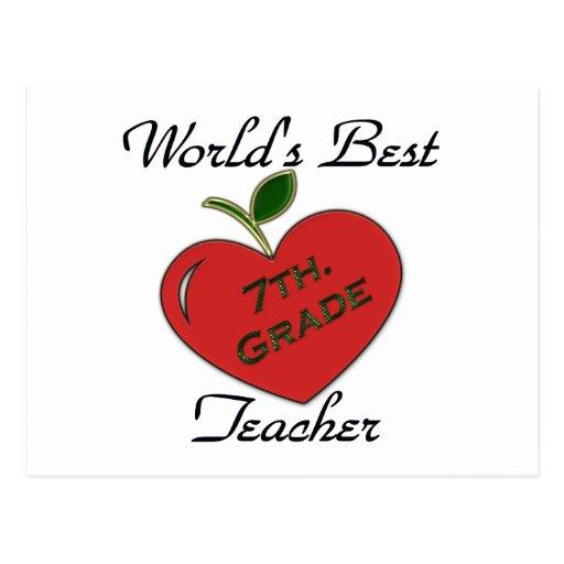 World's Best 7th. Grade Teacher Postcard