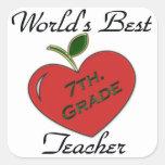 World's Best 7th. Grade Teacher Square Sticker