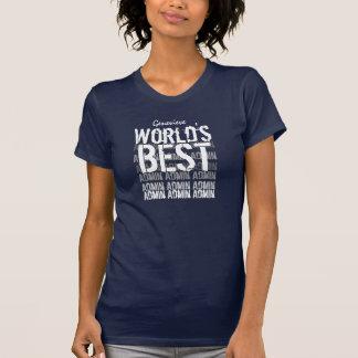 World's Best Admin Custom Name Navy Blue and White T-Shirt