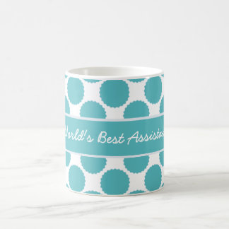 World's Best Assistant Teal and White Coffee Mugs