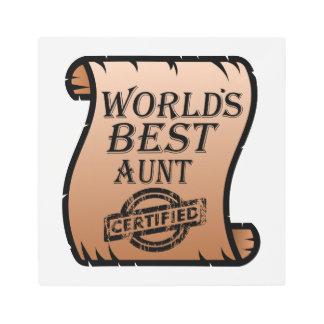 World's Best Aunt Certified Certificate Funny Metal Print