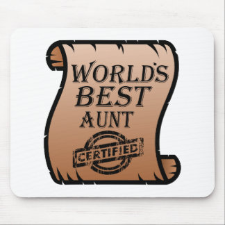 World's Best Aunt Certified Certificate Funny Mouse Pad