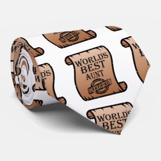 World's Best Aunt Certified Certificate Funny Neck Tie