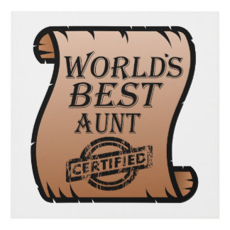 World's Best Aunt Certified Certificate Funny Panel Wall Art