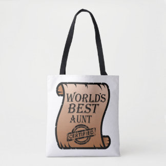 World's Best Aunt Certified Certificate Funny Tote Bag
