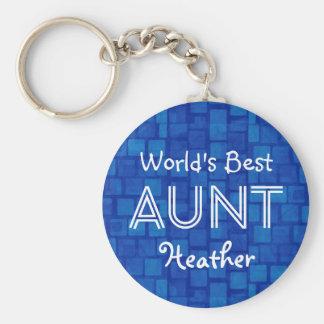 World's Best AUNT Custom Blue Gift Item 08 Basic Round Button Keychain