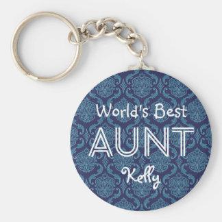 World's Best AUNT Custom  Dark Blue Damask Gift 14 Basic Round Button Keychain