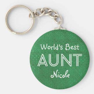 World's Best AUNT Custom Green Gift Item 10 Basic Round Button Keychain