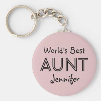 World's Best AUNT Custom Name Pink Gift Item 02 Basic Round Button Keychain