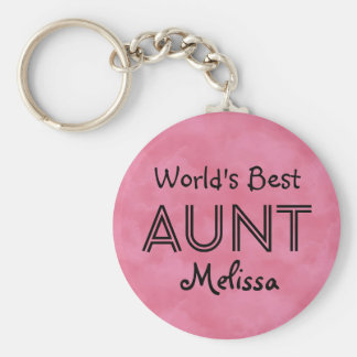 World's Best AUNT Custom Name Pink Gift Item 03 Basic Round Button Keychain