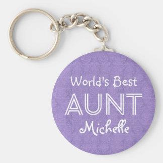 World's Best AUNT Custom Name Purple Gift Item 04 Basic Round Button Keychain