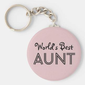World's Best AUNT Custom Pink Gift Item 01 Basic Round Button Keychain
