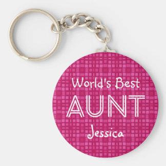 World's Best AUNT Custom Pink Gift Item 11 Basic Round Button Keychain