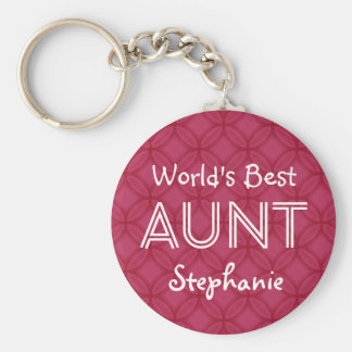 World's Best AUNT Custom Red Gift Item 09 Keychain