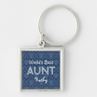 World's Best AUNT Dark Blue Damask Gift 14N Silver-Colored Square Keychain
