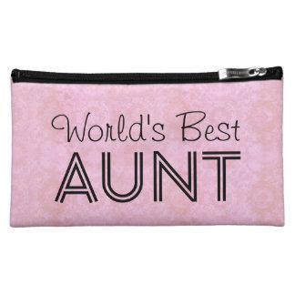 World's Best AUNT Family Appreciation Bag PINK Makeup Bags