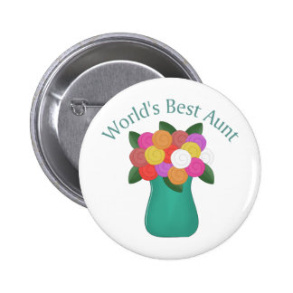 World's Best Aunt Floral Vase Tees, Gifts Buttons