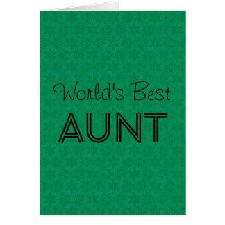 World's Best AUNT Green Star Pattern Christmas Card