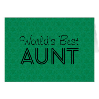 World's Best AUNT Green Star Pattern Christmas Card