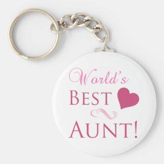 World's Best Aunt (Heart) Basic Round Button Keychain