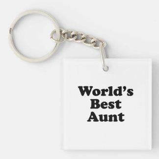 World's Best Aunt Single-Sided Square Acrylic Keychain