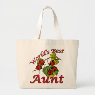 World's Best Aunt Ladybugs Jumbo Tote Bag