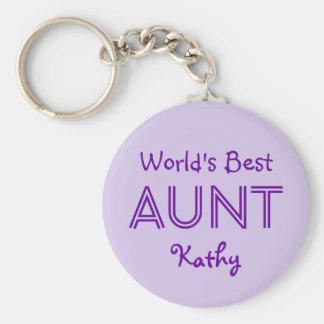 World's Best AUNT Lavender Purple Gift 14O Basic Round Button Keychain